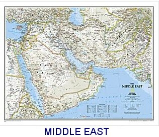 National Geographic Middle East political map 34x23