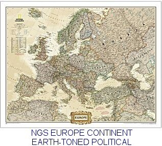 National geographic europe earth toned enlarged 46x36 national geographic europe map gumiabroncs Gallery