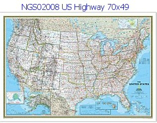 National Geographic Us Highway 70 X 49 - Us-highway-map
