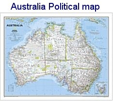 Australia Map Political.National Geographic Australia Political Map 30x24