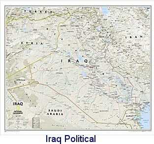 National Geographic Iraq political map 34x23