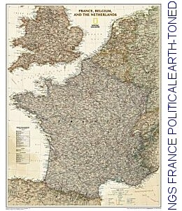 Map Of France Belgium And Luxembourg.National Geographic France Political Earth Toned 23x30