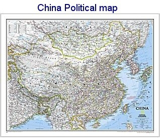 National Geographic China political map 30x24