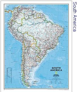 National Geographic South America Political 36x46