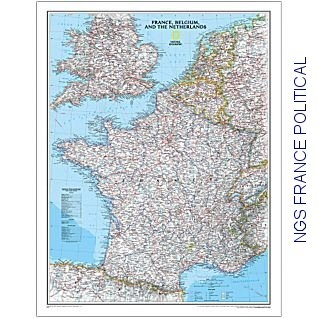 Map Of France And Luxembourg.National Geographic France Political 23x30