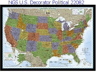 What Is A Political Map In Geography.National Geographic U S Decorator Political 70x48